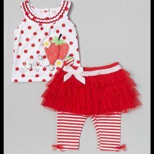 Young Hearts Matching Sets - Young Hearts Red Polka Dot & Skirted Leggings Set